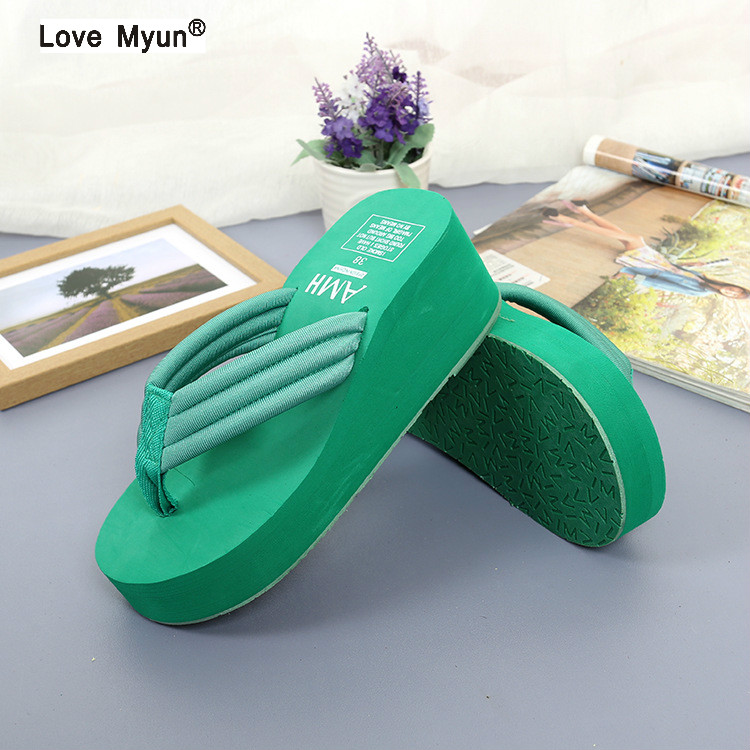 Women Beach Flip Flops Soild Wedge Platform Shoes Summer Slippers Women Shoe High Heels Beach Sandals Ladies Thick High Pantufas ветровики korea hyundai elantra 2001 2006 avante xd hb корея