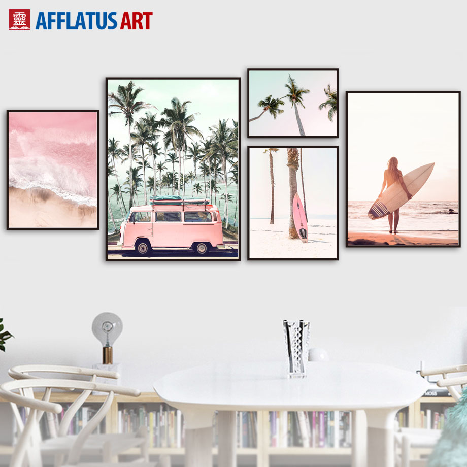 Pink Bus Sea Beach Coconut Tree Landscape Wall Art Canvas Painting Nordic Posters And Prints Wall Pictures For Living Room Decor