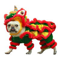 Funny Pet Cat Dog Costume Clothes Chinese Lion Dance Suit For French Bulldog Small Medium Dogs Corgi New Year Dress Up Apparel