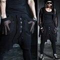 Moda de vanguarda homens Harem Culottes calças de bolso perspectiva malha em camadas Diagonal japonês gota calças virilha