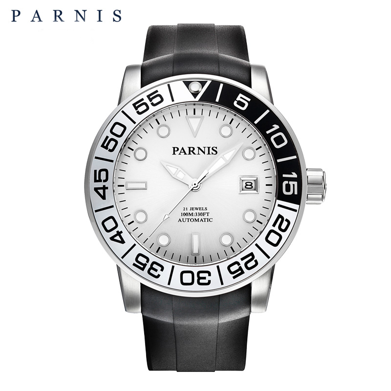 PARNIS Casual Automatic Men's Watch Relojes Hombre 2017 Sapphire Crystal Rubber Luminous Auto-Date Mechanical Watches Clock Men mechanical watches tourbillon men watch parnis 44mm power reserved sapphire luminous genuine leahter steel black watches relojes