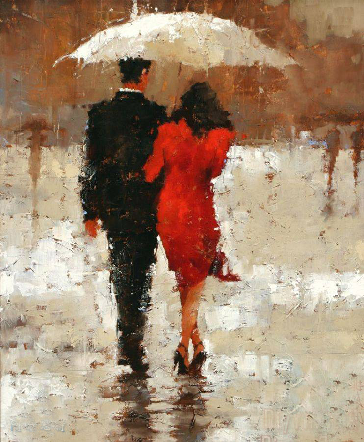 Abstract lover WALKING IN THE RAIN OIL Painting # TOP original art oil painting work 100% handpainted oil painting 36