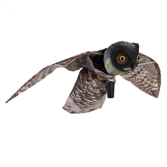 Prowler Owl Bird Scarer with Moving Wing Garden Scarecrow Predator Decoy Pest Bird Pest Control Scarecrow Garden Yard Decor