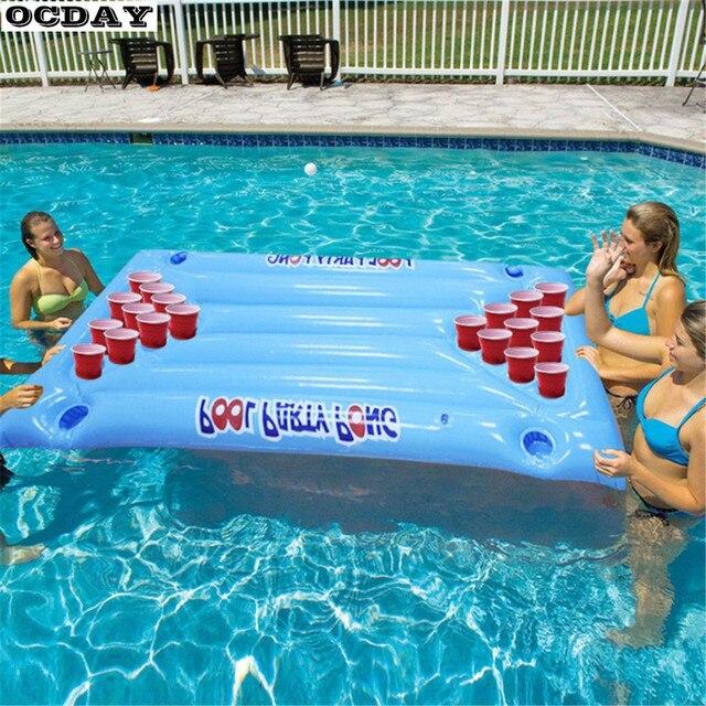 Opblaasbare Bier Pong Float Tafel Water Drijvende Zwembad Vlot Lounge PVC Drijvende Vlot Drinking Game met 24 Bekerhouders