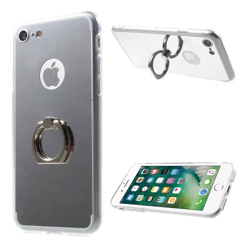 DULCII Cover for iPhone7 Cover Bag <font><b>Mirror</b></font> Surface Finger <font><b>Ring</b></font> Kickstand TPU PC <font><b>Phone</b></font> Case for iPhone 7 Case 4.7 inch