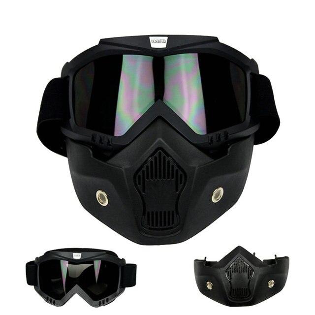 Óculos de Proteção da motocicleta com Máscara e Filtro Boca Estilo Harley  Proteger Estofamento Destacável Rosto 243871e431