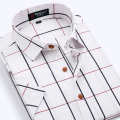 Summer New fashion high quality brand  plaid short-sleeved shirt Slim fit  dress shirts camisa social masculina plus M-4XL