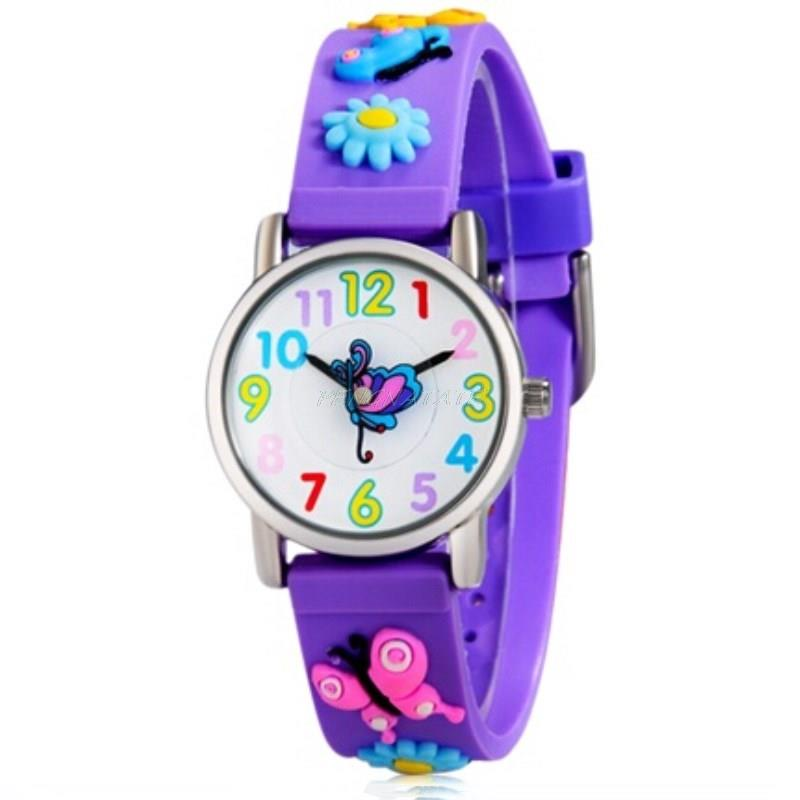 Willis 3D Butterfly Cute Quartz Watches Luxury Brand Waterproof Children Qlastic Watch Clock Child Rubber Strap Watch PENGNATATE