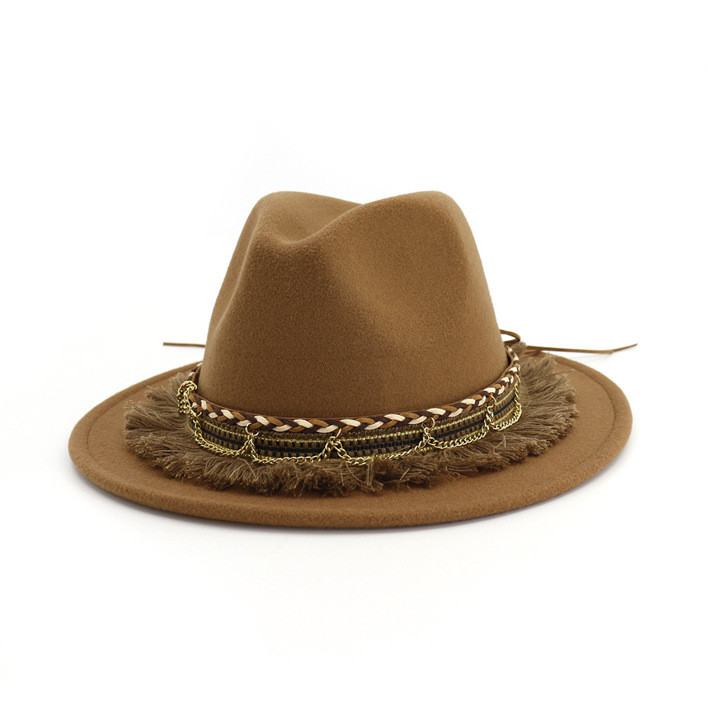 Wool Felt Women Men Western Cowboy Hat With Wide Brim Punk Leather Belt Jazz Cap One Size 57cm US 7 1 8 AD0787 in Men 39 s Cowboy Hats from Apparel Accessories