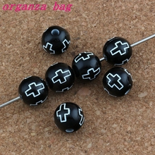 500Pcs / Lots Hollow Cross Carved Acrylic Round Spacer Beads black Color Religious Bead Loose beads 10mm Jewelry E-4