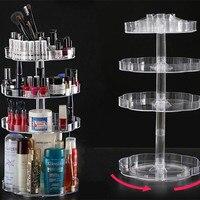 Clear 360 Degree Rotating Makeup Organizer Case Cosmetic Brush Storage Holder Box