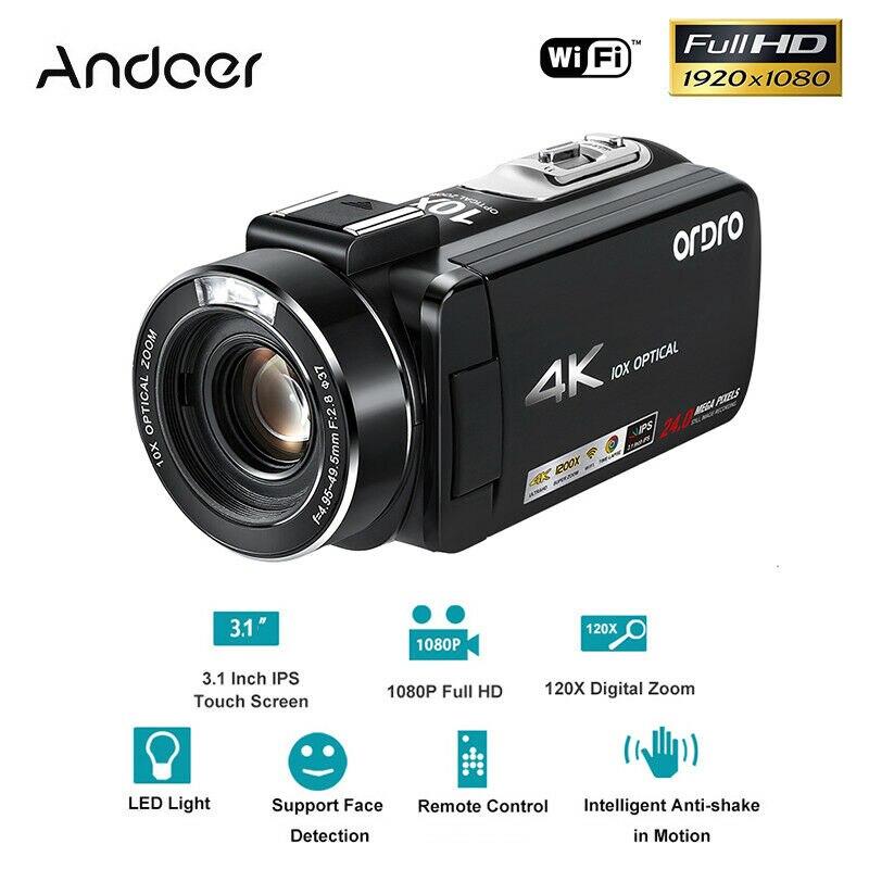 Andoer 1080 P HD caméra vidéo WiFi 24MP 4 K + 10X Zoom optique à distance + 32 GB TF carte professionnelle caméra Photo caméscopes numériques