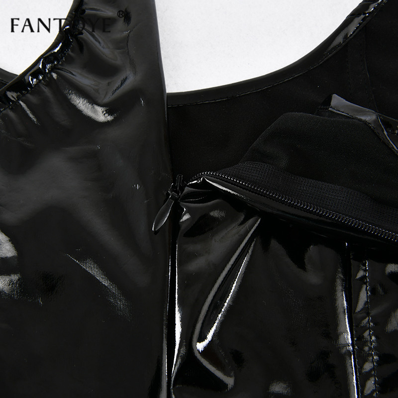 Fantoye Reflective PU Leather Sexy Dress Women 2019 Spring Sleeveless Skinny Mini Elegant Slim Night Club Bodycon Party Dresses