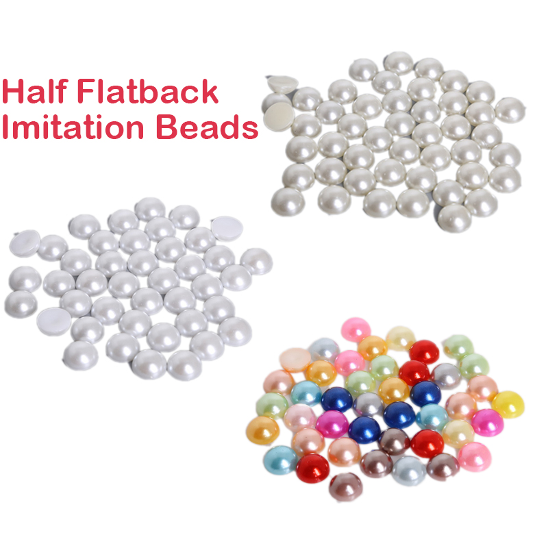 Beads Fltmrh 30pcs 10mm Ivory White Black Craft Abs Imitation Pearls Ha If Round Flatback Pearls Resin Scrapbook Beads