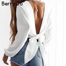 4d2ae64c9d BerryGo Chiffon profunda v pescoço camisa blusa Mulheres sexy sem encosto  bow tie blusas soltas top tees Feminino elegante blusa.