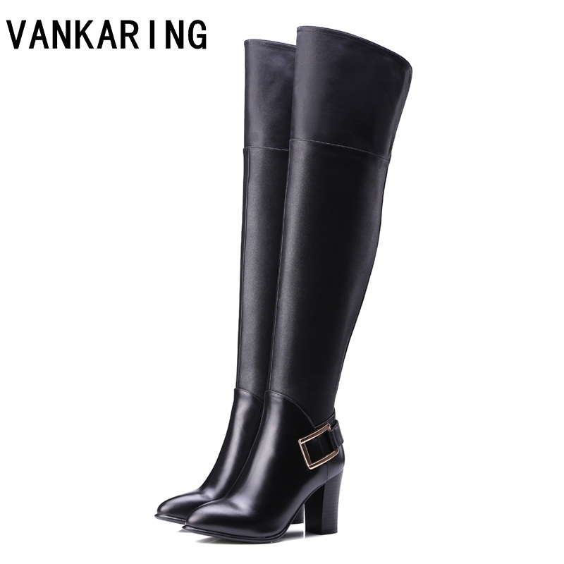 VANKARING fashion buckle autumn winter snow boots women over the knee high boots black leather high heels warm shoes platform цена 2017