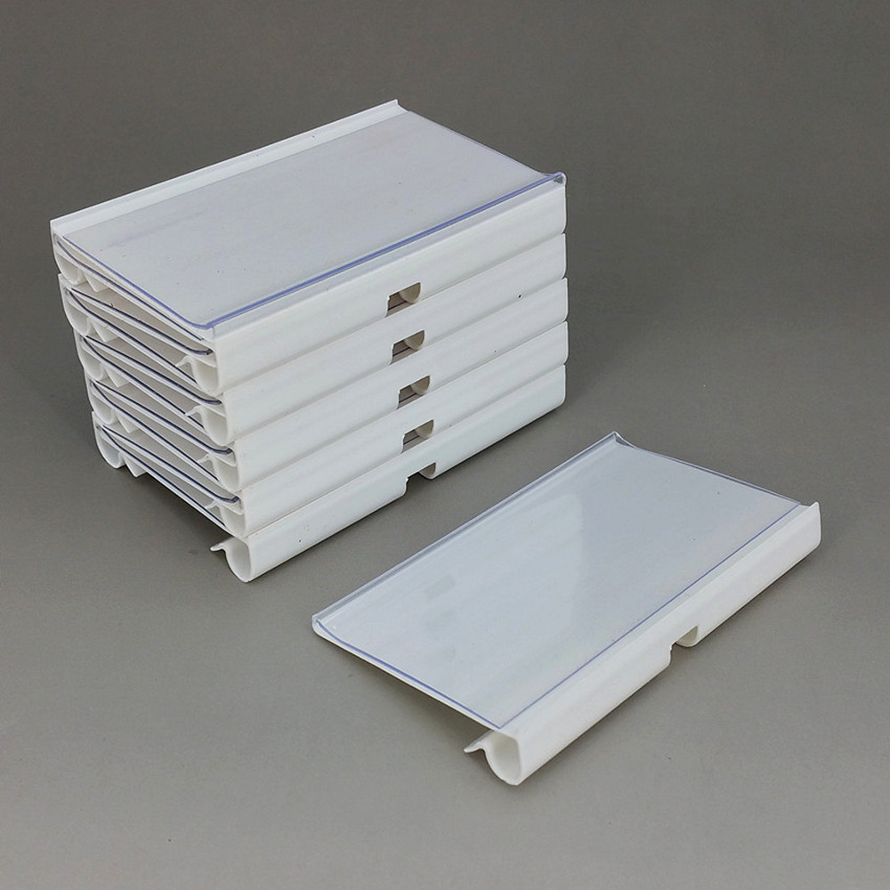 6/8/10x4/4.5cm PVC Plastic Price Tag Sign Label Display Holders Clips For Supermarket Shelf Hook Rack In White/Clear 100pcs