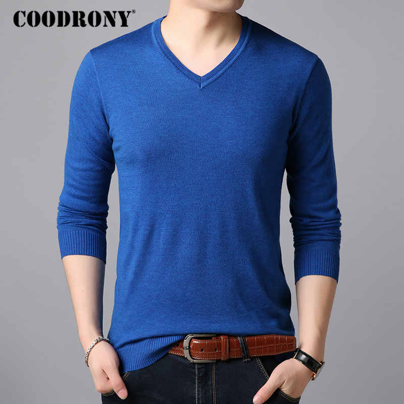COODRONY Classic Pure Color Sweater Men Casual V-Neck Pullover Men Clothes 2018 Autumn Winter Sweaters Plus Size Pull Homme 8153