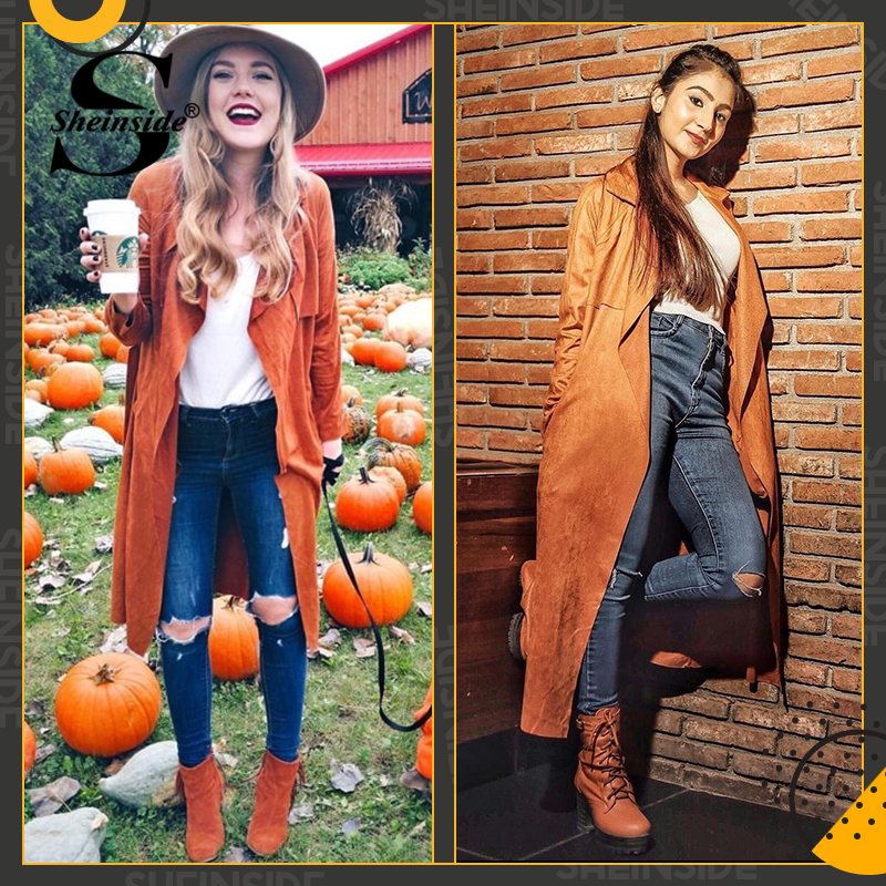 94739d5e6 US $22.98 45% OFF|Sheinside Brown Suede Self Tie Duster Trench Coat Long  Sleeve Wrap Long Outer With Belt Women Casual Fall Winter Workwear Coat-in  ...