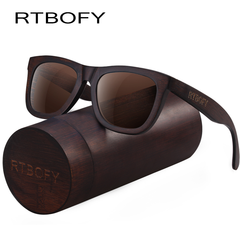 RTBOFY עץ משקפי שמש עבור גברים & נשים Duwood מסגרת Eyeglasse מקוטב עדשות משקפיים וינטג עיצוב גוונים UV400 הגנה