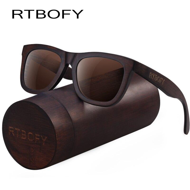 RTBOFY Bois lunettes de Soleil pour Hommes et Femmes Duwood Cadre Eyeglasse Polarisées Lentilles Lunettes Vintage Design Nuances UV400 Protection