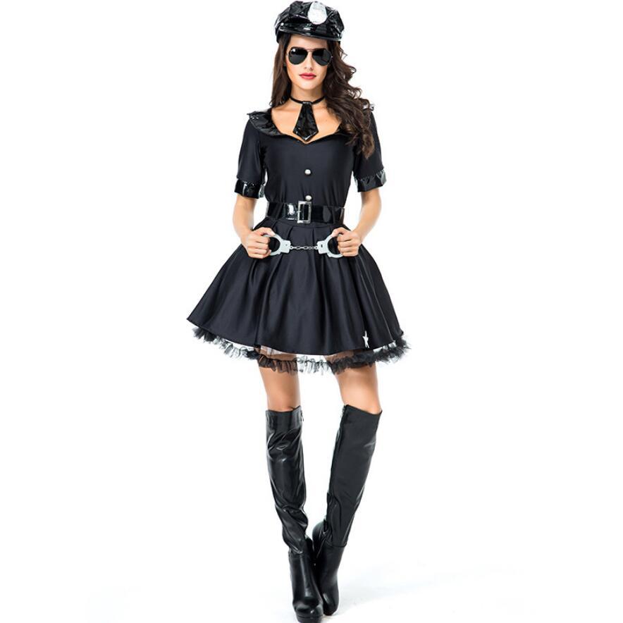 Adult Sexy Cop Costume Female Police Uniform Halloween Policewomen Cosplay Fancy Party Dress