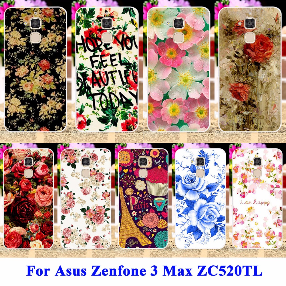 Anunob Floral Phone Case For <font><b>Asus</b></font> Zenfone 3 Max ZC520TL <font><b>X008D</b></font> Zenfone3 Max <font><b>Asus</b></font> Zenfone Pegasus 3 Cover Soft TPU Hard PC Shell image