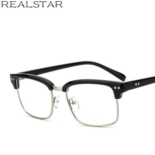 e9ff5ae98ffa REALSTAR Rivets Fashion Half Frames Eyeglasses Mens Myopia Glasses Optical  Frame Brand Computer Eye Glasses Women Oculos S299