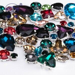 Image 3 - グリッタークリスタルラインストーンで爪diyカラフルなドレストーンミックス形状ガラス衣料用 50 ピース/パックS037
