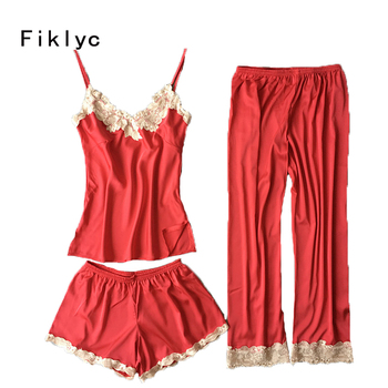 cef7cd180 Fiklyc marca de tres piezas mujer Pijamas conjuntos tops + Pantalones  cortos + Pantalones largos de satén de alta calidad fresca camisones  femeninos nueva ...