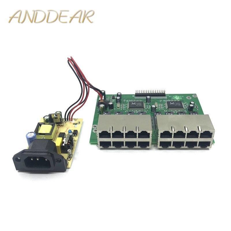 OEM 10/100 mbps RJ45 16 ports rapide Ethernet commutateur module Lan Hub US EU prise 5 v adaptateur alimentation réseau commutateur carte mère