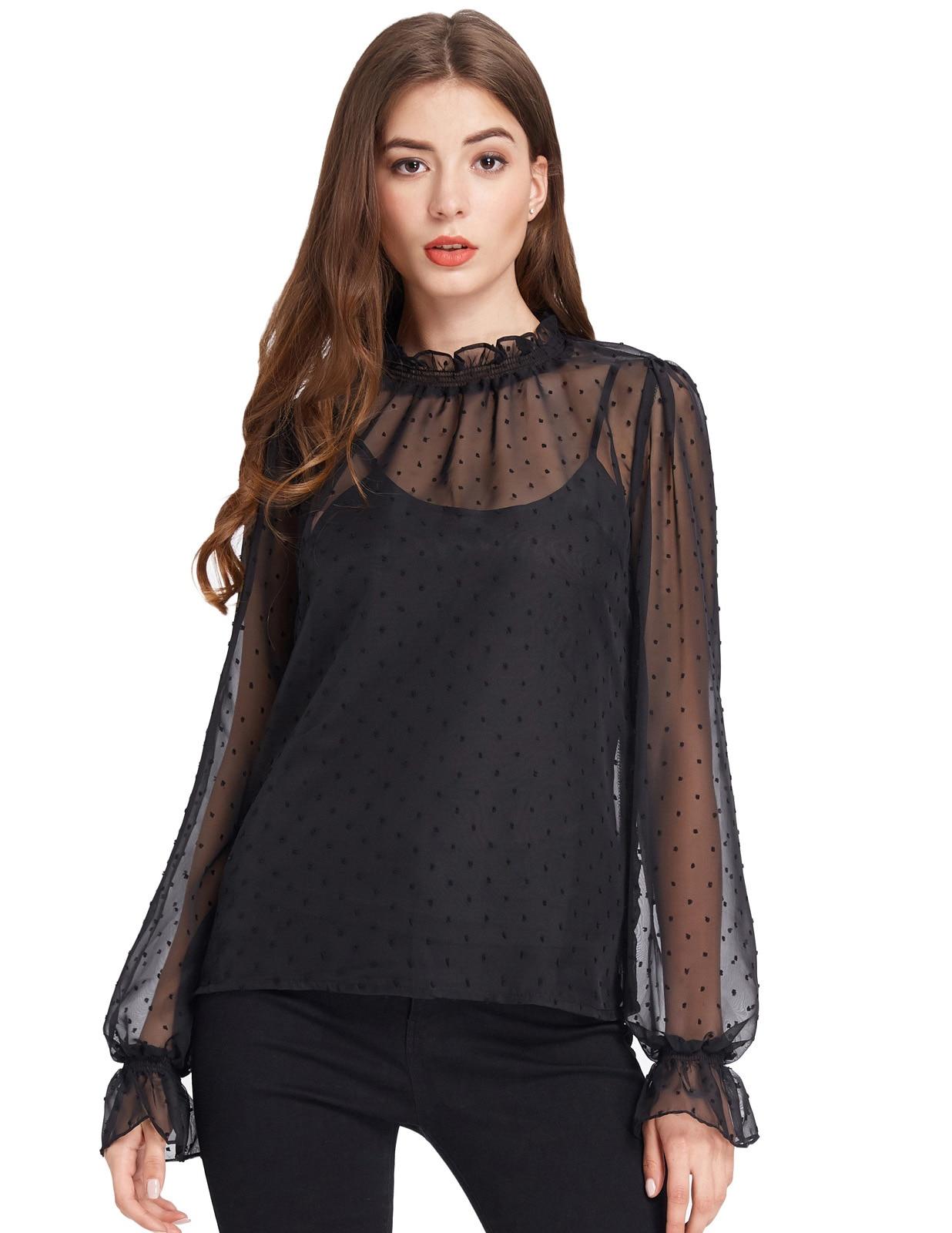 summer shirts 2018 Sexy see through polka dot shirt Women Summer Long falre Sleeve High Neck Chiffon shirts Tops+Cami 2pcs Set