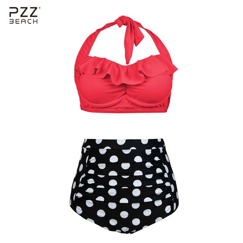 2017 Sexy Vintage Swimsuit High Waist Polka Dot Bikini Set Plus Size Swimwear Ruffle Bikini Female Bathing Suits Maillot De Bain your gallery retro sexy high waist pin up bikini sets polka dot swimwear swimsuit