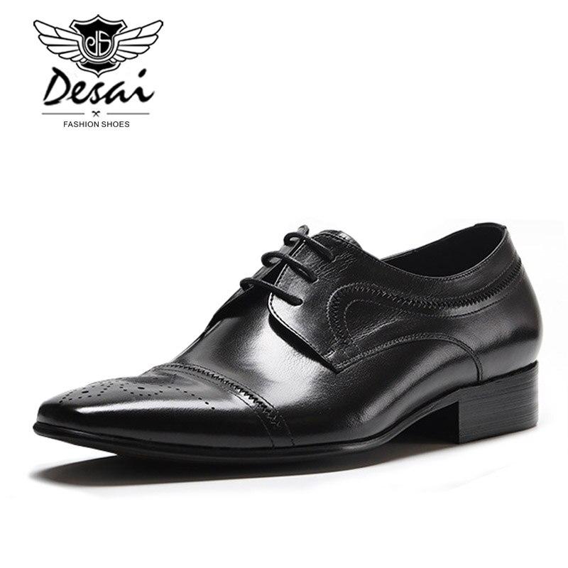 Nouveau cuir véritable hommes britanniques pointus affaires robe chaussures Version européenne des chaussures de mariage hommes chaussures formelles à lacets-in Chaussures d'affaires from Chaussures    2