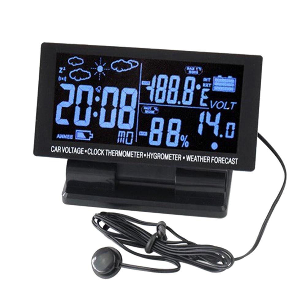 LCD Digital Clock Car Voltmeter Thermometer Hygrometer Weather Forecast Vehicle cigarette lighter socket