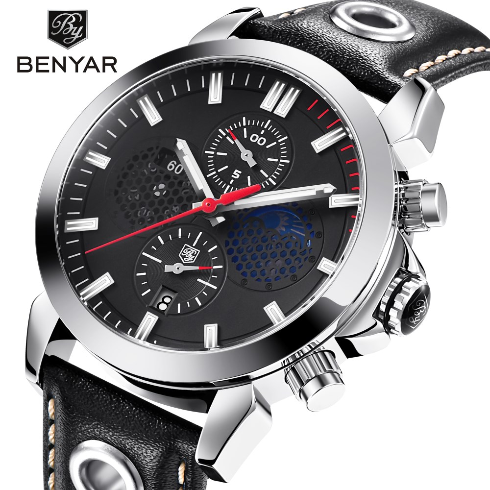BENYAR New Design Chronograph Sport Mens Watches Fashion Brand Military Waterproof Quartz Watch Relogio Masculino Dropshipping benyar mens watches top brand luxury design chronograph sport fashion military clock waterproof quartz watch relogio masculino