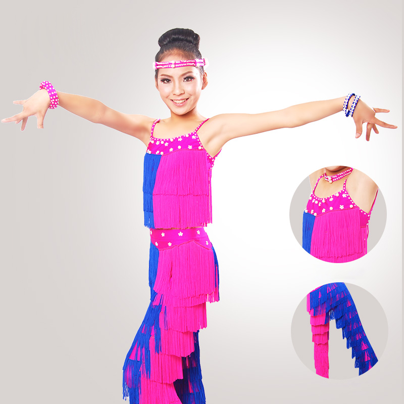 Woman Children Latin Dance Costumes For Americans Tassel High Quality Ballroom Cha Cha Rumba Samba Dancing Clothes DNS1008 ...