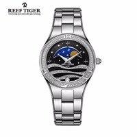 Риф Тигр модные женские туфли часы бриллиантами Безель Нержавеющаясталь Moon Phase устойчивостью Водонепроницаемый кварцевые часы Relogio Feminino