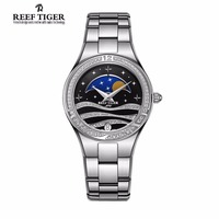 Reef Tiger Fashion Women Watches Diamonds Bezel Stainless Steel Moon Phase Resistant Waterproof Quartz Watch Relogio Feminino
