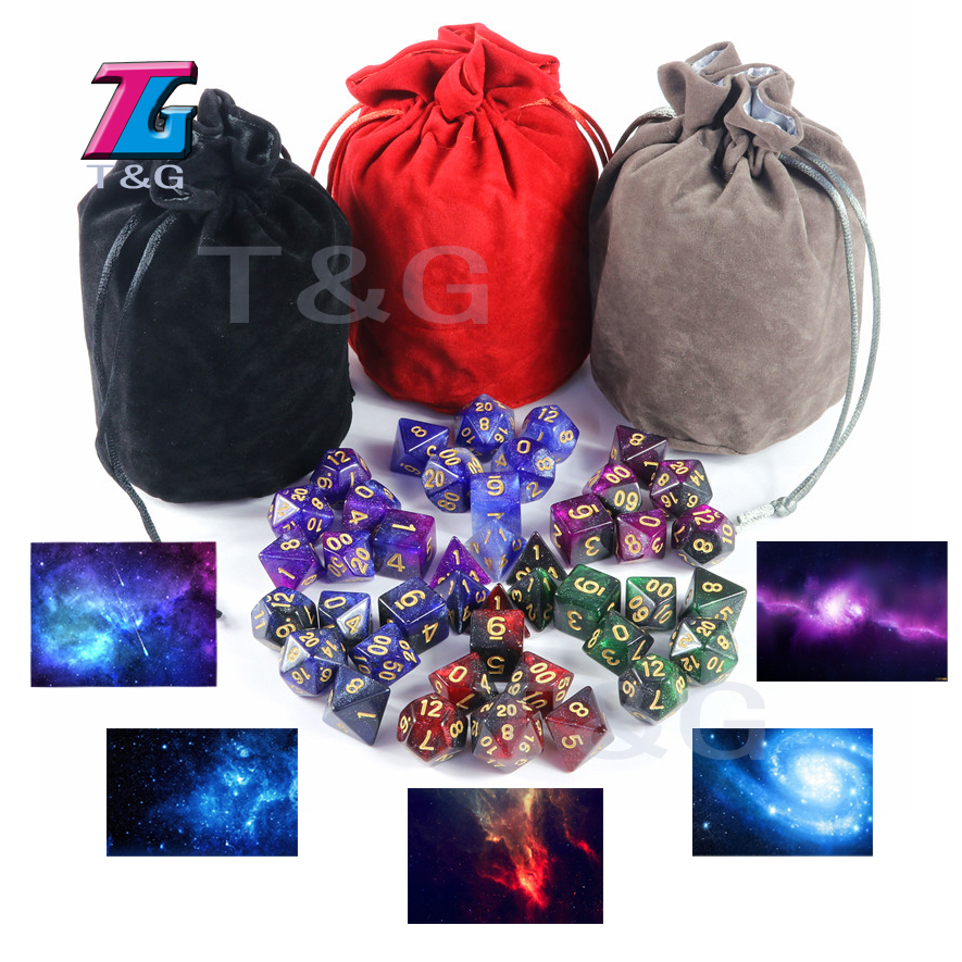 Shine Bright Like Universe Galaxy Dice 6 Sets 7 Pieces Role Playing Table Board Game Portable Man Christmas Gift