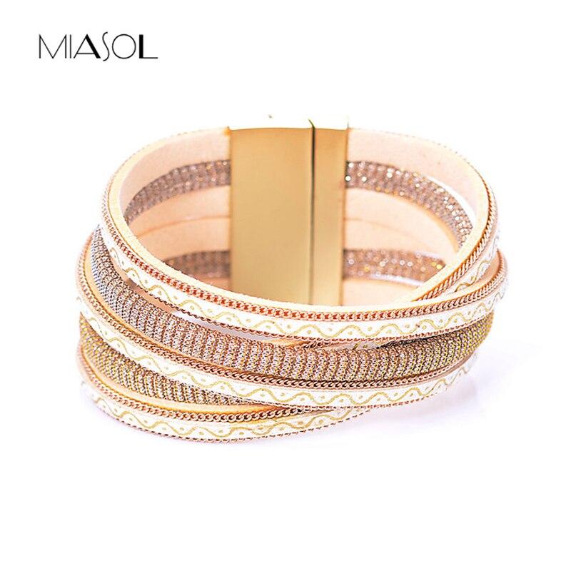 Miasol Fashion Multiple Layers Crystal PU Leather Bracelets For Women Men Bohemian Wide Wrap Magnetic Bracelets Party Jewelry