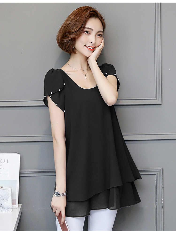 Шифоновые блузки для женщин плюс размер рубашки летние женские s Топы и блузки 2019 женские туники Roupas Blusas Mujer 4 XXXXL 5 XXXXXL