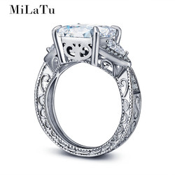 Milatu luxury cz stone solid 925 sterling silver ring carved pattern wedding engagement rings for women.jpg 250x250