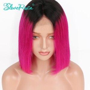 Image 2 - 13X4 OT Rose สีชมพู 130% ความหนาแน่นสั้น Bob วิกผมมาเลเซีย Remy ผมลูกไม้ด้านหน้าด้านหน้ามนุษย์ Wigs สีดำรากก่อน Plucked Slove Rosa