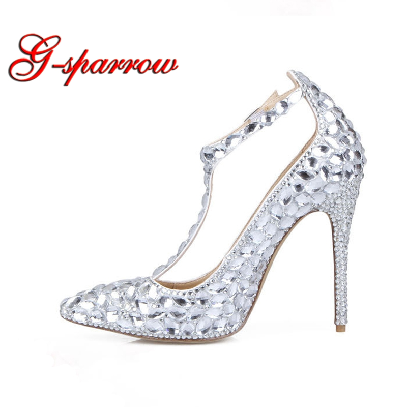 T-strap High Heel Women Shoes Pointed Toe Sexy Glass Crystal Wedding Party Shoes Ankle Straps Bridal Dress Shoes Silver Stone цена