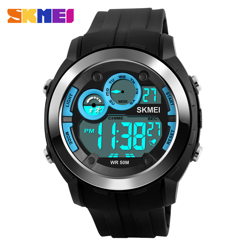 SKMEI 1234 Men Digital Wristwatches Alarm Black Light Chrono PU Strap Sports Watches Blue 50M Water Resistant Relogio Masculino