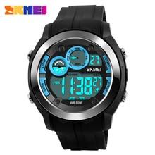 SKMEI 1234 Men Digital Wristwatches Alarm Black Light Chrono PU Strap Sports Watches Blue 50M Water Resistant Relogio Masculino
