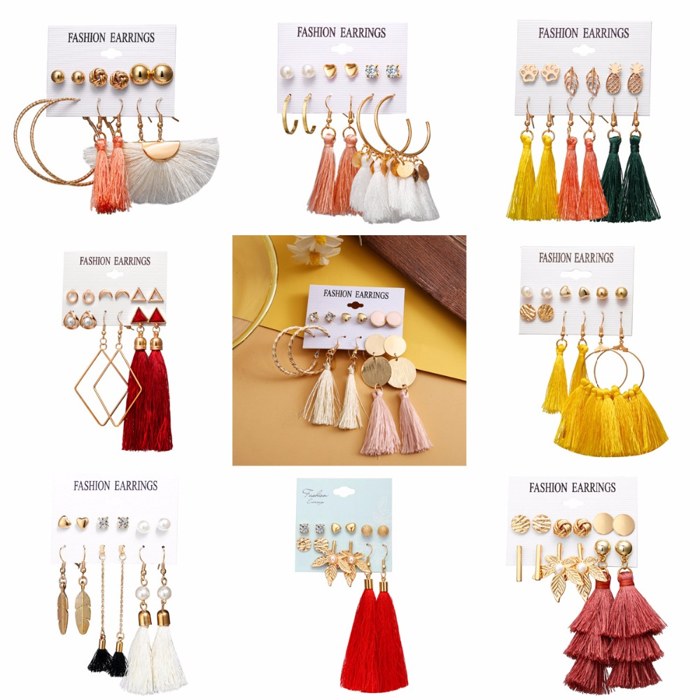Boho Tassel Dangle Earrings set For women Gold color Leaf Geometric Long Drop Statement Earring For Female Brincos Jewelry