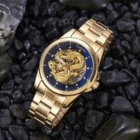 China Dragon Gold Men Watches Business Automatic machinery Watch top Brand Diamond Stainless steel Wristwatch Relogio Masculino