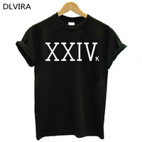 2017 New DLVIRA S 3XL XXIVK Bruno Mars Letters Print Women Tshirt Cotton Casual Funny T